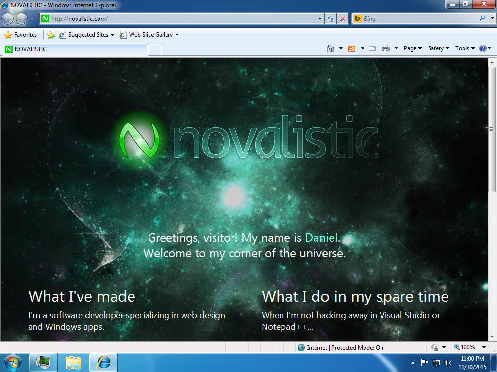 "NOVALISTIC 5.0 ""Veldin"" on Internet Explorer 8 screenshot"