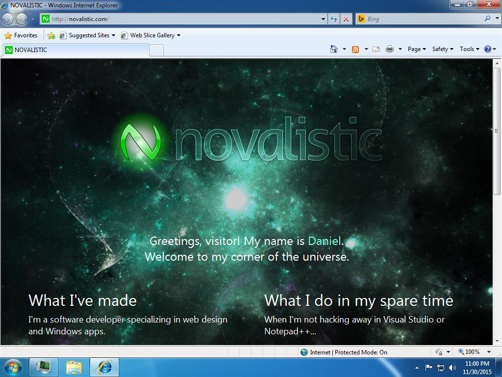 """NOVALISTIC 5.0 """"Veldin"""" on Internet Explorer 8 screenshot"""