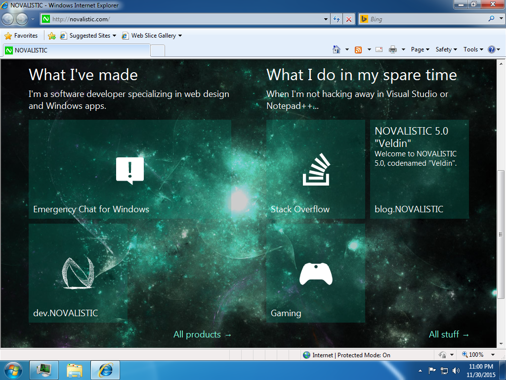 "NOVALISTIC 5.0 ""Veldin"" on Internet Explorer 8 tiles screenshot"