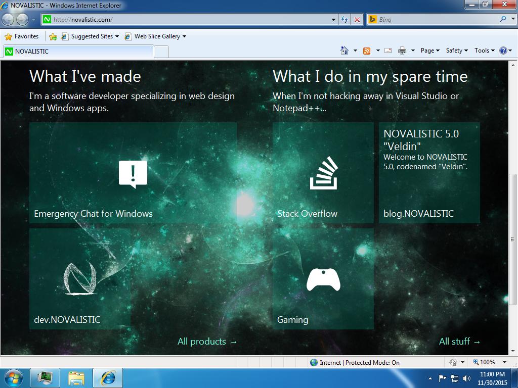 """NOVALISTIC 5.0 """"Veldin"""" on Internet Explorer 8 tiles screenshot"""