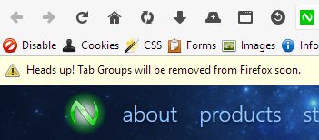 Heads up! Tab Groups will be removed from Firefox soon.