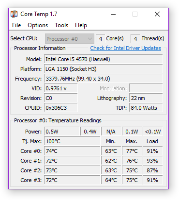 Core Temp readings for Dishonored 2.