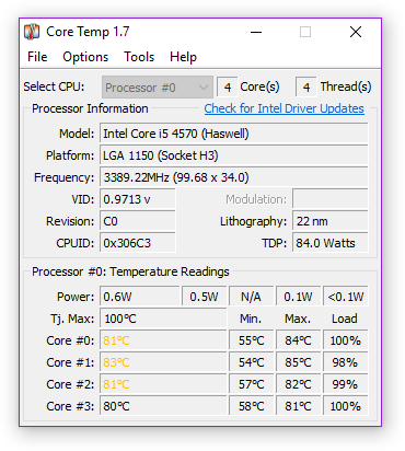 Core Temp readings for Battlefield 1.
