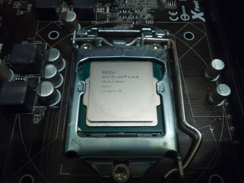 Close-up of the Intel CPU, cleaned.