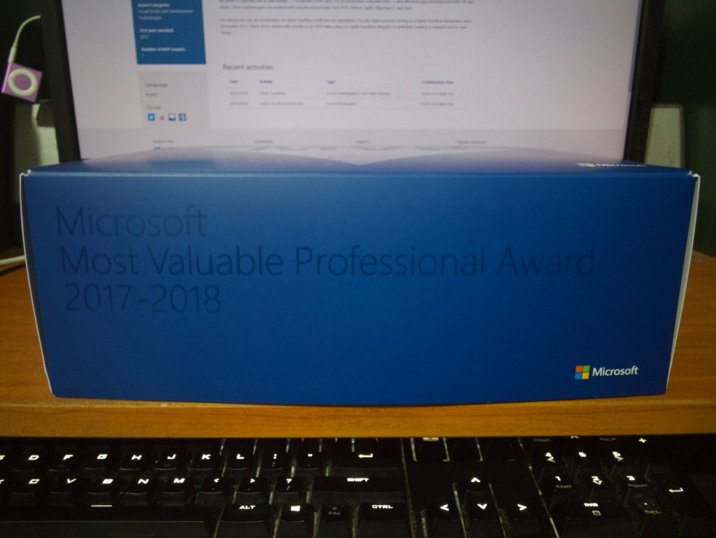 "The front of the box, which reads ""Microsoft Most Valuable Professional Award 2017-2018"""