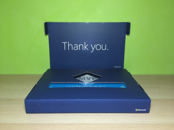 """Opening the lid reveals a much more readable """"Thank you."""" than last year's."""