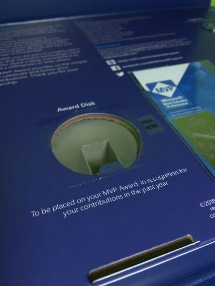 Close-up of the 2018-2019 award disk.