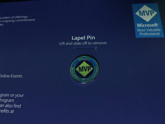 The lapel pin, now with instructions for removal.