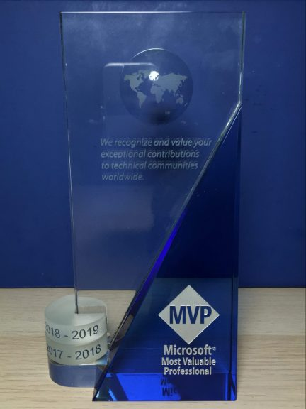 My updated Microsoft MVP Award.