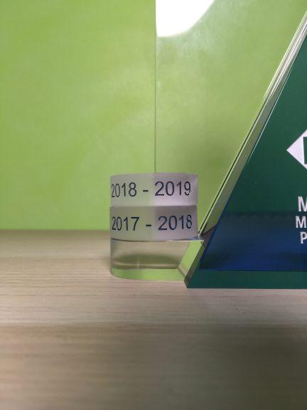 Close-up of my two award disks so far.