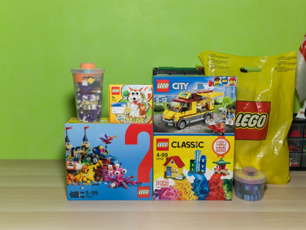 60150 Pizza Van, 10703 Creative Builder Box, 10404 Ocean's Bottom, 40235 Year of the Dog, large and small Pick A Brick cups and a mystery set hidden in a LEGO Store shopping bag.