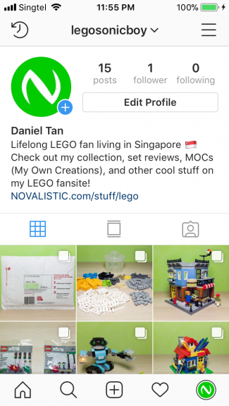 Screenshot of Instagram displaying my new public Instagram account, @legosonicboy.